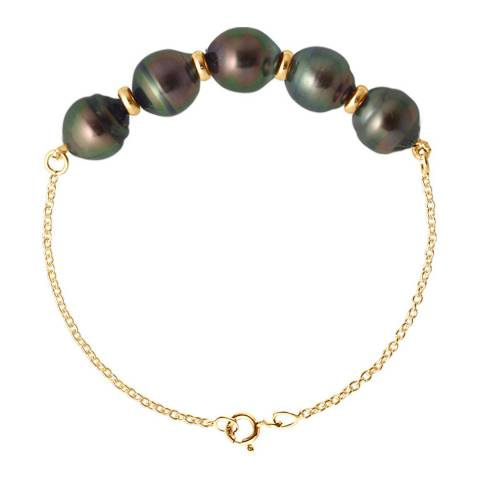 Atelier Pearls Black Five Pearl Bracelet 8-9mm