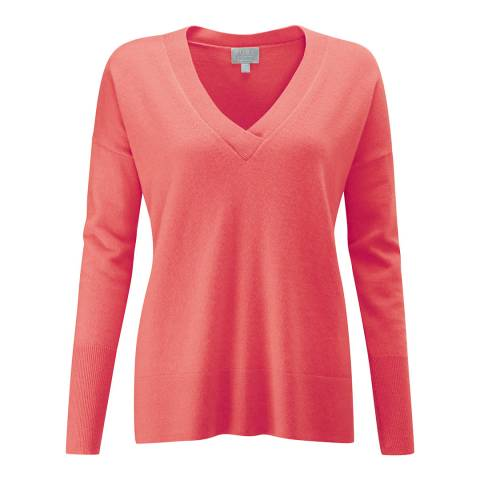 Pure Collection Peach Relaxed V Neck Cashmere Sweater