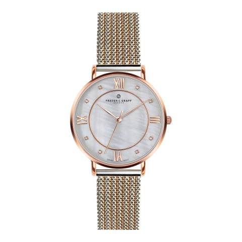Frederic Graff Women's 2 tone Silver/Rose Gold Mesh Liskamm Watch 38mm