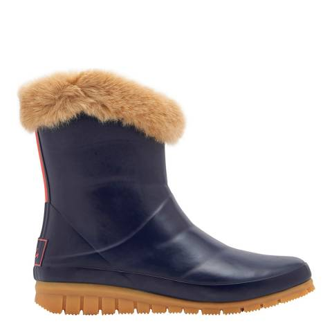 Joules Navy Chilton Faux Fur Cuff Wellies