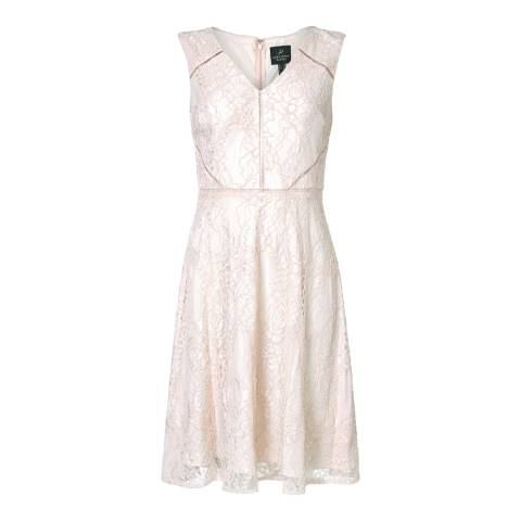 Adrianna Papell Blush/Almond Rose Lattice Lace Fit And Flare Dress