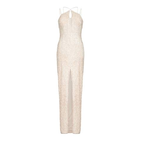 Aidan Mattox Champagne Textured Sequin Column Dress