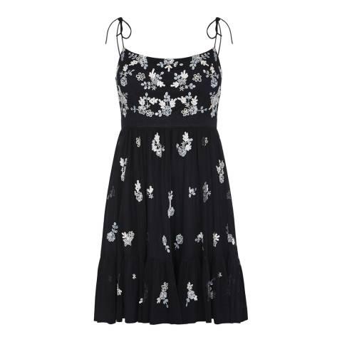 Adrianna Papell Black Multi Beaded Short Dress