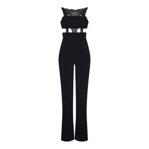 Aidan Mattox Black Crepe And Lace Jumpsuit