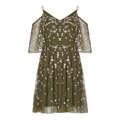 Adrianna Papell Olive Beaded Short Dress