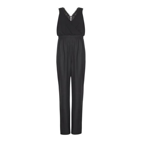 Adrianna Papell Black Beaded Georgette Jumpsuit