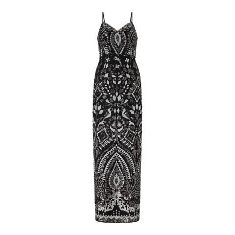Aidan Mattox Black/Silver Embroidered Sequin Dress