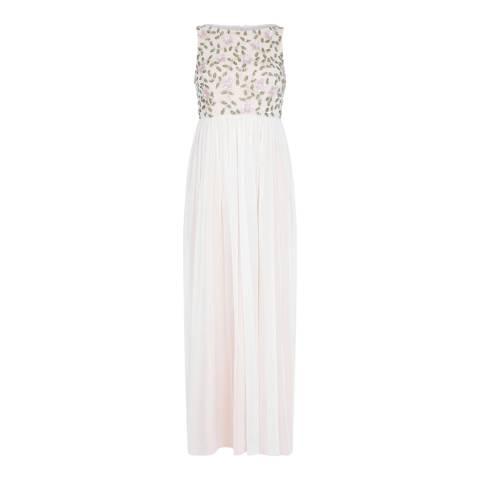 Adrianna Papell Ivory Multi Long Beaded Dress