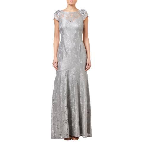 Adrianna Papell Silver Slate Long Metallic Lace Dress