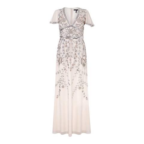 Aidan Mattox Champagne Beaded Dress