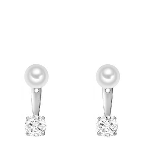 Pearls of London White/Silver Organic Pearl Drop Earrings 8mm