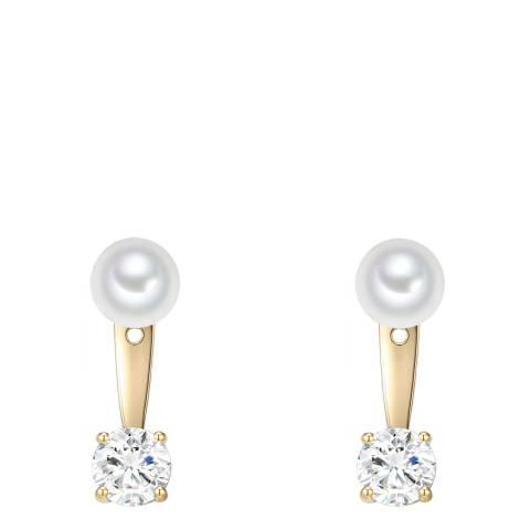 Pearls of London White/Gold Organic Pearl Drop Earrings 8mm