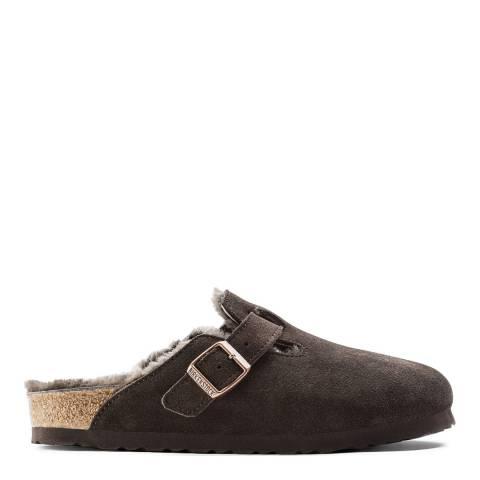 Birkenstock Mocha Suede Leather Boston Shearling Mules