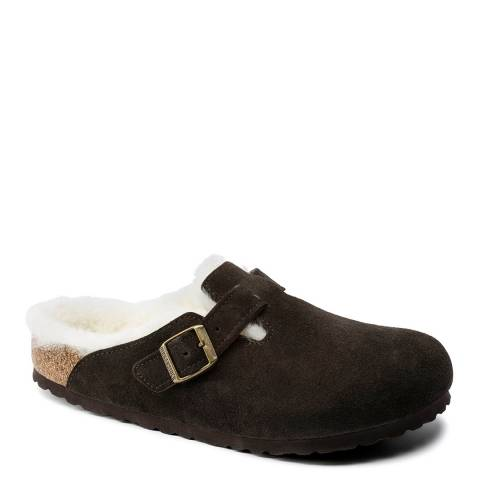 Birkenstock Mocha Suede Leather Boston Shearling Mules