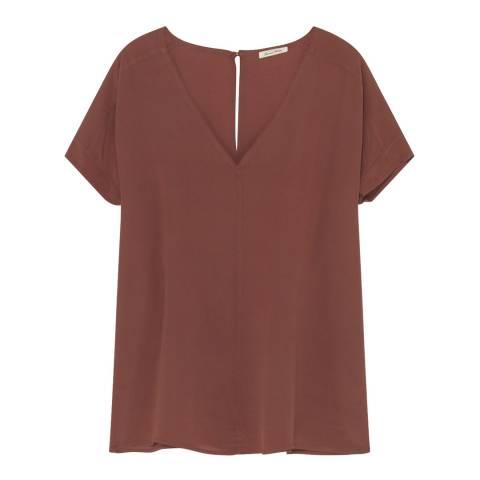 American Vintage Brown Overland Silk Top
