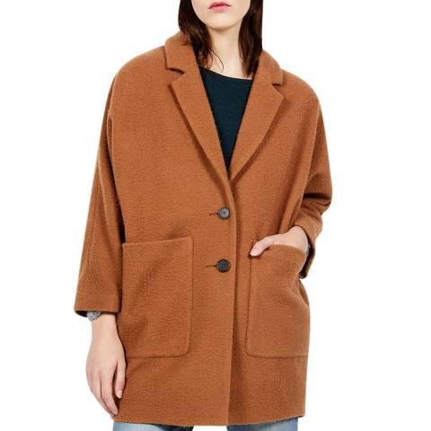 American Vintage Brown Single Breasted Wool Blend Coat