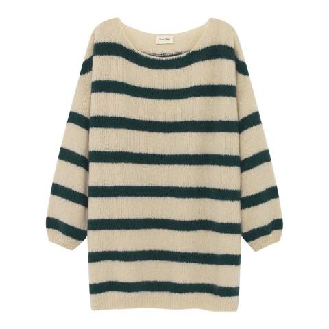 American Vintage Cream/Black Striped Wool Blend Boatneck Sweater