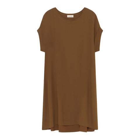 American Vintage Brown Round Neck Short Sleeve Dress