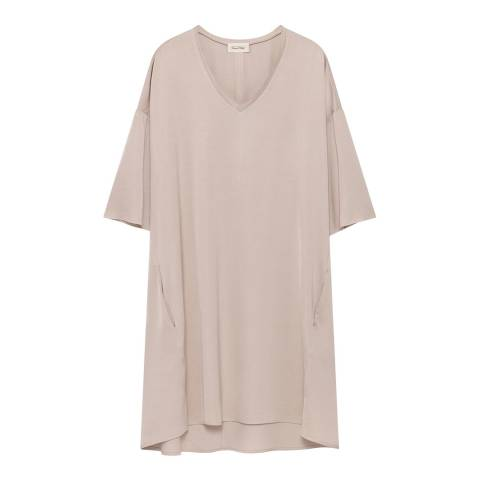 American Vintage Cream V- Neck 3/4 Sleeve Dress