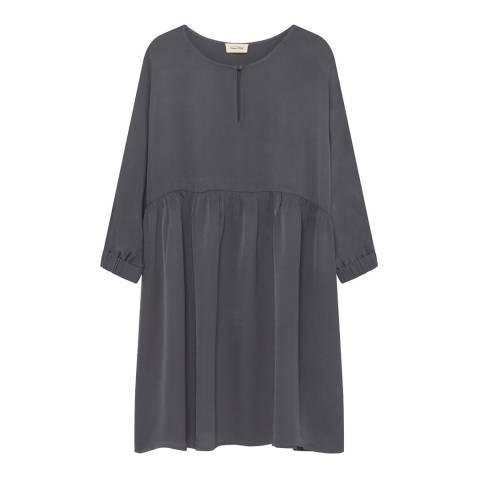 American Vintage Grey Round Neck 3/4 Sleeve Smock Dress