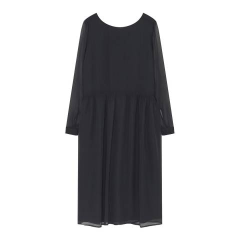 American Vintage Black Boat Neck Long Sleeve Dress