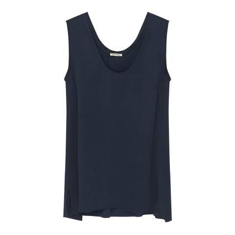 American Vintage Blue Sleeveless V- Neck Top