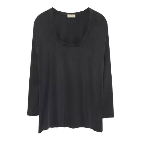 American Vintage Black Long Sleeve Scoop Neck Top