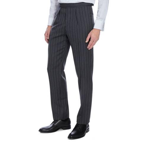 Hackett London Black Stripe Wool Suit Trousers