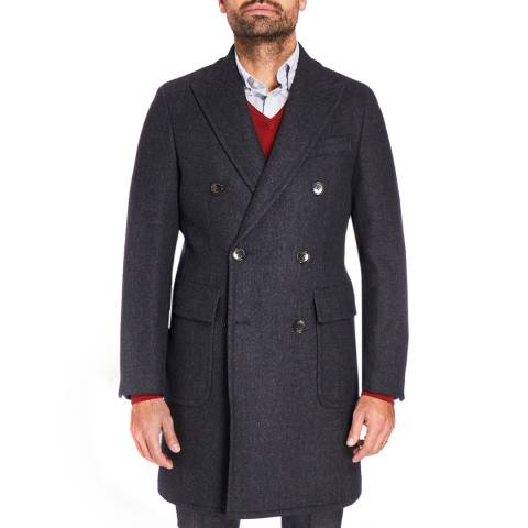 Hackett London Charcoal Herringbone Wool Overcoat