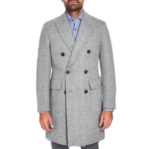 Hackett London Pale Grey  Herringbone Wool Overcoat