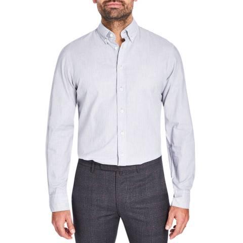 Hackett London Grey Stripe Slim Cotton Shirt