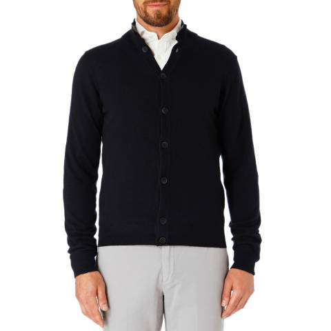Hackett London Navy Wool/Silk/Cashmere Cardigan