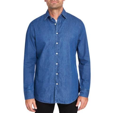 Hackett London Denim Double Face Herringbone Cotton Shirt