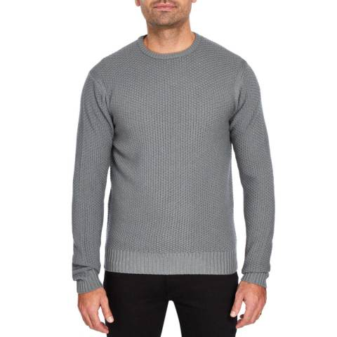Hackett London Taupe Chunky Knit Wool Crew Neck Jumper