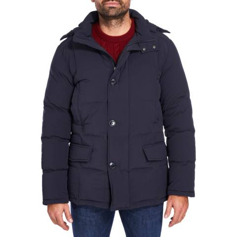 Hackett London Navy Quilted Faux Fur Parka Coat