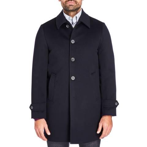 Hackett London Navy Wool Blend Carcoat