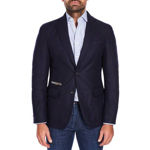 Hackett London Navy Mayfair Quilted Wool Blend Blazer