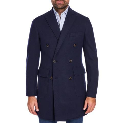 Hackett London Black/Navy Double Breasted Wool Blend Coat