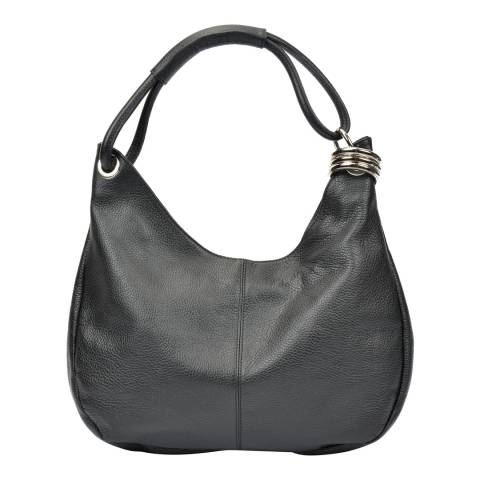 Carla Ferreri Black Hobo Shoulder Bag