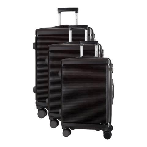 Platinium Set of 3 Black Spinner Suitcases