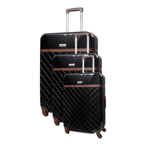 Platinium Set of 3 Black/Red Spinner Suitcases