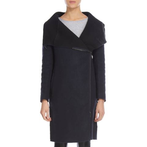 Bolongaro Trevor Black/Navy Wool Blend Zip Blanket Coat