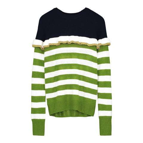 Donna Ida Crew Neck Relaxed Fit Novelty Cashmere Sweater With Ruffle