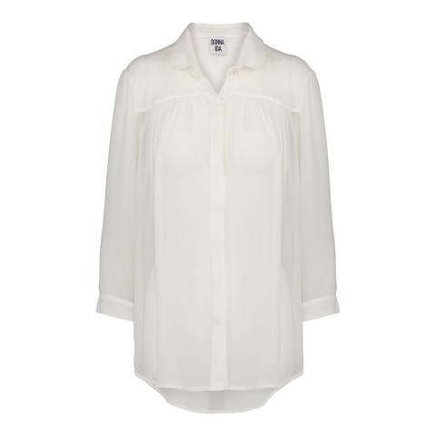 Donna Ida Peter Pan Collar Silk Shirt Plain