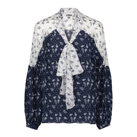 Donna Ida Loose Fit Pussy Bow Printed Silk Blouse
