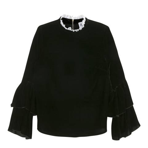 Donna Ida Crew Neck Statement Top With Cuff Ruffle