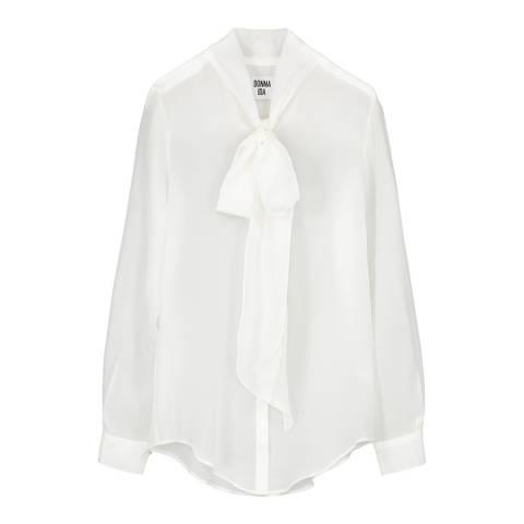 Donna Ida Pussy Bow Silk Shirt Plain
