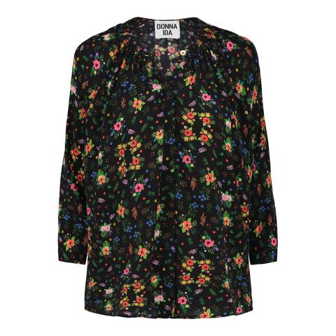Donna Ida Smock Collar Blouse in Printed Silk