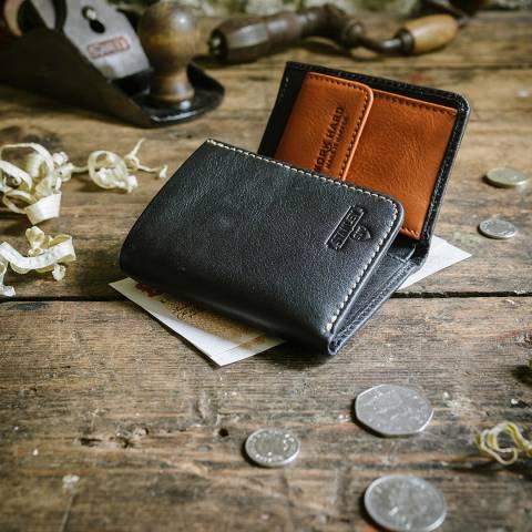 Stanley Black/Tan Tri Fold Leather Wallet