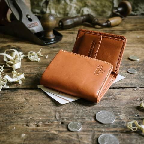 Stanley Tan Tri Fold Leather Wallet